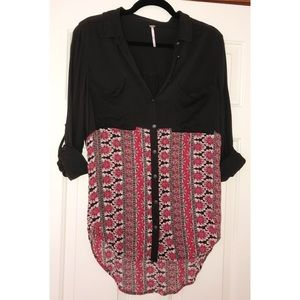 EUC Free People 50/50 Pattern Blouse - M